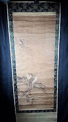 18th/19th C Antique Japanese pre-1800-1899 Scroll Ptg 2 Birds Branch sumi/color
