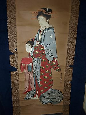 Choshun 19th C Antique Japanese 1800-1899 Scroll Painting Bijin with Attendant