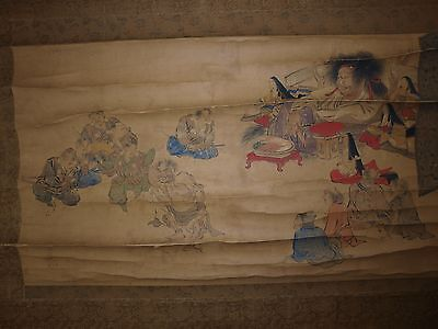 18th/19th C Antique Japanese pre-1800-1899 Scroll Ptg Giants Party Oni Yamabushi