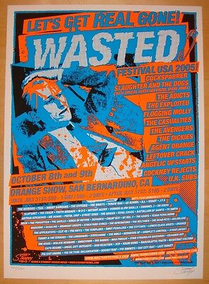 2005 Wasted Festival Poster w/ Agent Orange UK Subs Flogging Molly Stainboy s/n