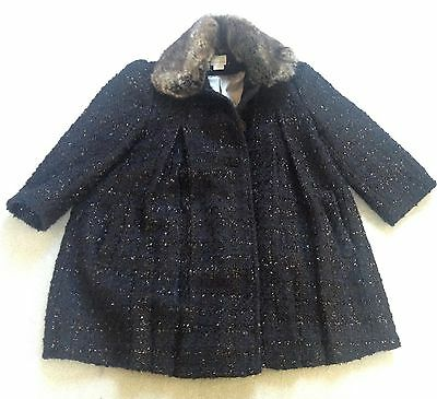 Monsoon girl's 3-4 years smart winter coat in blue black detachable fur collar