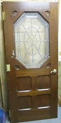 Exterior / Interior Solid Wood Door W/ Bevel & Textured Glass # 43 Fine Vintage