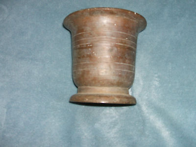 Early Antique 18th Century Brass Mortar Heavy