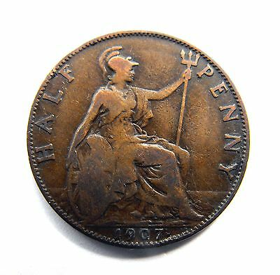 King Edward VII 1907 HALFPENNY in good condition