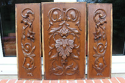 French Lot Of Antique Carved Wood 19Th Panel Flowers
