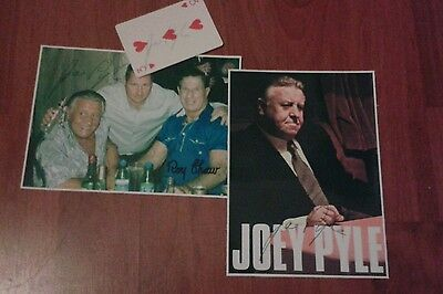 Joe Pyle Signed Pictures & Playing Card. Krays. Gangster. Crime. Roy Shaw.