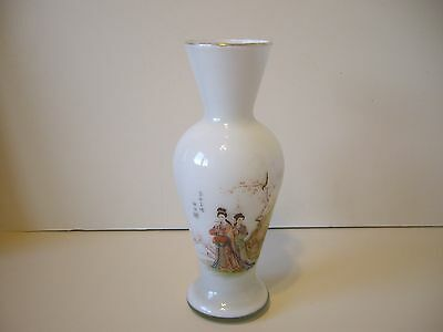 Vintage White Frosted Glass Hand Painted & Signed Japanese Geisha Scene