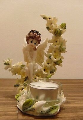 Fairy Sitting On Floral Half Moon Tea Light Holder