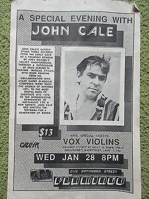 Old Vintage Original Music Concet Poster Evening with John Cale Halifax NS