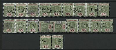 20 Old Straits Settlements Used Stamps #170 Five Dollar Perfins