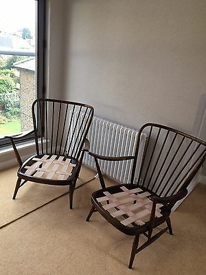 Pair Of Ercol 477 Armchair - Elm Windsor Easy Chairs -  1978 Vintage