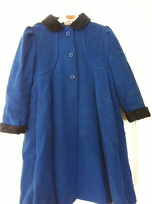 Girls Coat Age 5 Years In Royal Blue With Velvet Collar And Cuffs
