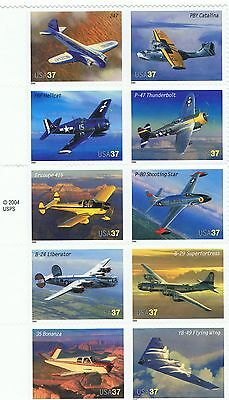 """Stamps USA,  Sheet of 10 No. """"Classic American Aircraft"""", 2005, (NMM)"""