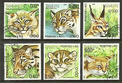 "Laos ""Big Cats"" set of 6 SG 512-7 cto nice thematics"