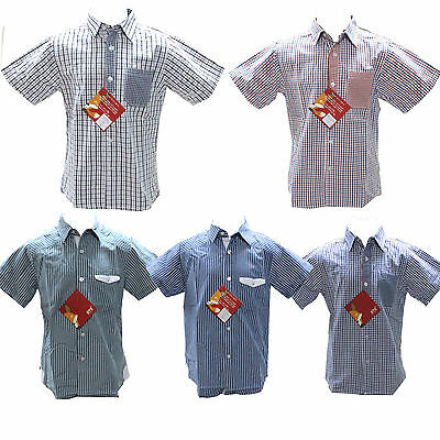 Boys Kids Short Sleeve Casual Shirt Cotton Smart