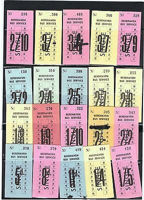 Bus Tickets Ireland, 20 No Berehaven Bus Service, County Cork,(5d to 5/- Values)