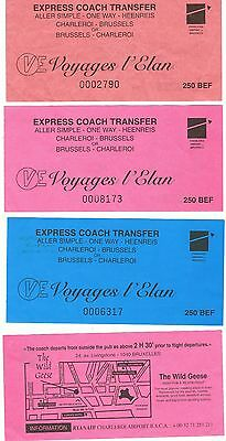 Bus Tickets Ireland & Belgium, 4No. RYANAIR, Charleroi Airpt. to Brussels Centre