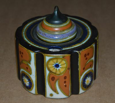 Hand Painted GOUDA Art Deco INKWELL with LID Artist Signed Holland