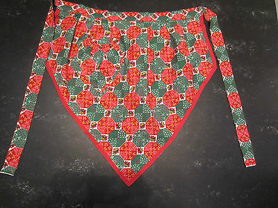 Vintage Apron. Christmas. Patchwork Effect. Red and Green. Home Sewn. Cotton