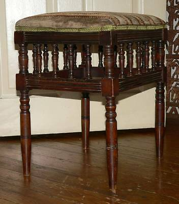 ANTIQUE VICTORIAN MAHOGANY STOOL WITH CUSHIONED SEAT/c1890