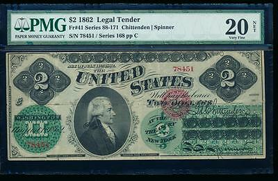 AC Fr 41 1862 $2 Legal Tender PMG 20 NET EARLY TYPE