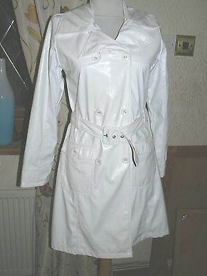 Girls White PVC Coat  Size 152 Age 11 - 12 by Barbara Farber