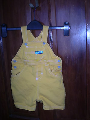 Next yellow short dungarees Size 9-12 mths