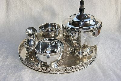 VINTAGE SILVER PLATED 3 pc TEA SET STAMPED VINERS OF SHEFFIELD & CREAM JUG +TRAY