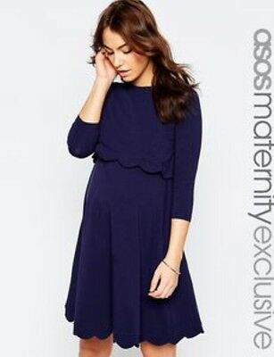 New ASOS Maternity Nursing Dress Size 10 - Dark Blue / Navy With Scallop Edge