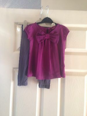 Trendy Girls Casual Ted Baker Purple Blouse & Leggings Age 12-18 Months
