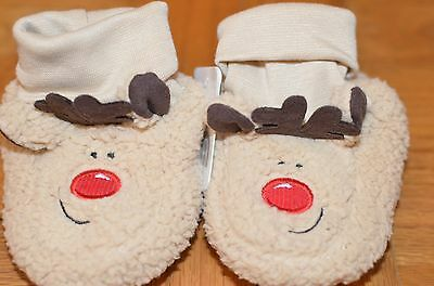 Mothercare reindeer Rudolph slippers Christmas Xmas size 2 BNWT unisex boys girl
