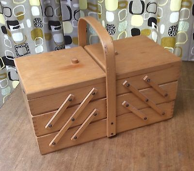 Vintage Retro Large Wooden Sewing Box Cantilever With Handle Dressmaker