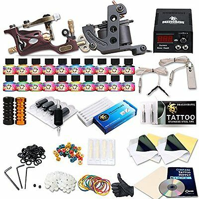 DragonHawk Complete Tattoo Kit 2 Tattoo Machines Tattoo Gun USA TOP Inks Tattoo