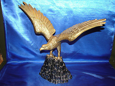 """Vintage Large Heavy Brass toned Metal 20"""" wingspan perched midcentury art"""