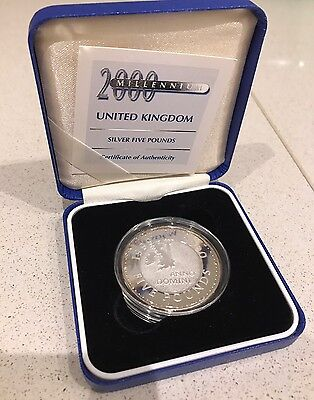 2000 Royal Mint Millenium  Silver  Proof £5 Five Pound Coin Box And Coa