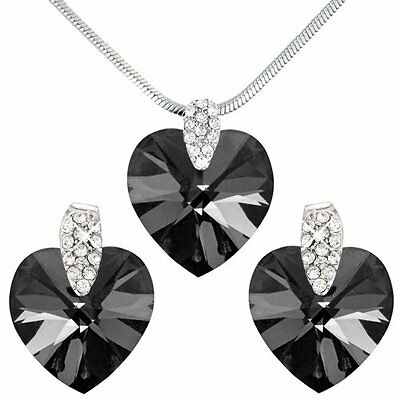 1p AUCTION NEW BLACK SILVER CLUSTER HEART NECKLACE EARRING SWAROVSKI CRYSTALS