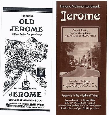 Historic Jerome Arizona - 2 Tourist Brochures From 1990 & 1994 With Maps