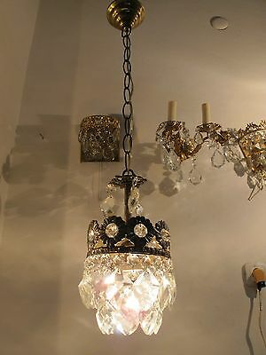 Antique French Basket Style Small Crystal Chandelier Lamp Light 1940's 5,6 in Dm