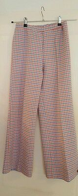 VINTAGE 60s 70s ILGWU Check FLARED TROUSERS - PINK BLUE