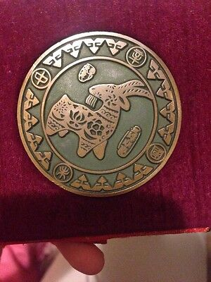 Chinese  Bronze 'Year of Goat' Metal Coin In Box  • See Photos And Description