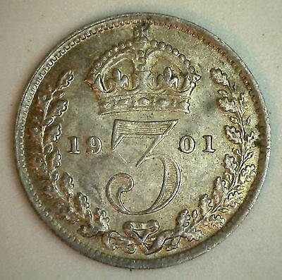 1901 Silver 3 Pence Great Britain UK English Coin AU