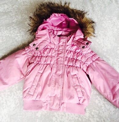 H&m Dusky Pink Fur Trim Cosy Hooded Paded Jacket 12-18 Months  ⛄️