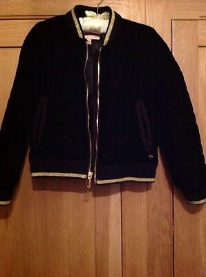 juicy couture girls black velvet bomber quilted jacket with silky lining age 6/7