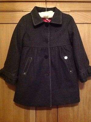Bnwot calvin klein jeans girls grey wool coat with bright pink lining age 4
