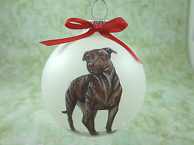 D037 Hand-made Christmas Ornament dog - Pit Bull Terrier pitbull - brindle stand