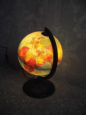 "Decorative World Globe Illuminated Lamp/light On A Stand 12"" H Italian"