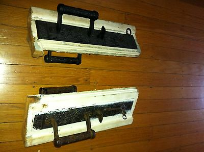 Antique Ornate Victorian Door Pulls Two Sets With Keys And Strikers