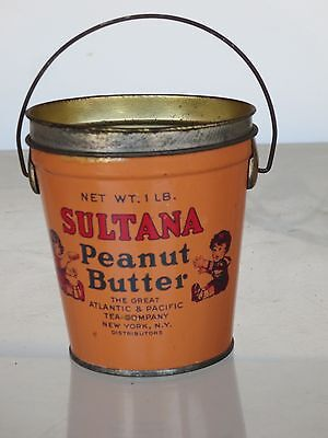 Vintage Sultana Peanut Butter Tin - Pail / Bucket  With Bail Handle - 1 Pound