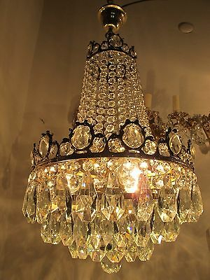 Antique Vnt French HUGE Basket Style Crystal Chandelier Lamp 1940's 14in dmtr---