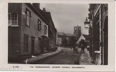Suffolk Postcard Halesworth The Throughfare Shewing Church Real Photo Used 1909